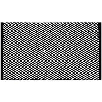 Teppich schwarz wei zick zack muster 60 x 140 cm k che haushalt - Teppich schwarz weiay zick zack ...
