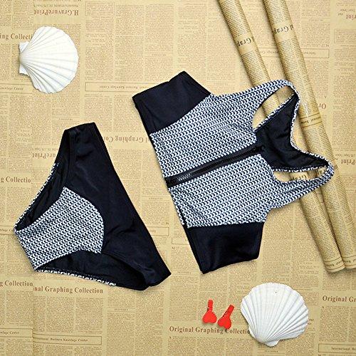 Damen Bikini-Sets Bademode mit Reißverschluss Badeanzug Swimsuit Swimwear Schwimmanzug Badebekleidung Schwarz