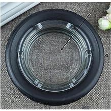 GyAfam Cenicero de vidrio, vidrio negro de neumáticos de caucho 15*4cm, cenicero y neumáticos tipo ceniceros