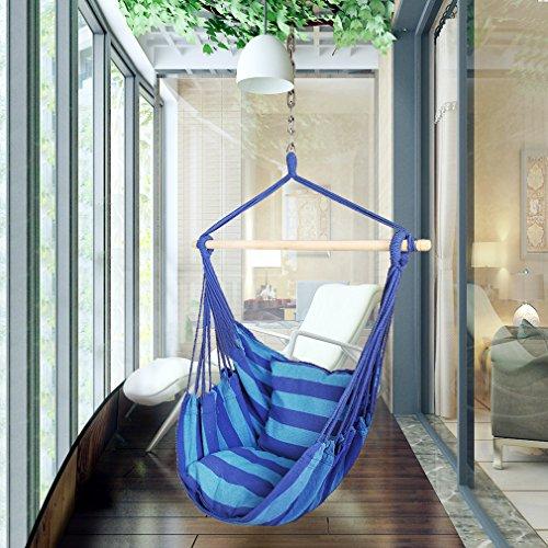Holifine Hängesessel Aufhängung Hängestuhl mit 2 Kissen und Spreizstab aus Holz, bis 120 kg Belastbar - Dunkelblau Streifen