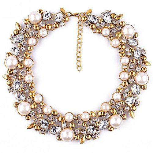 TWOPAGES - Collana a colletto stile vintage con finte perle
