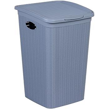 XL Wäschekorb im Rattan Design mit Klappdeckel und 50