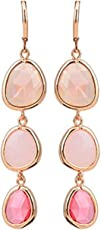 Ziory Pink Crystal Stone Long Drop Dangler Clip on Partywear Stylish Fancy Hot and Trendy Pink Earrings For Girls and Women