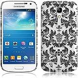 JAMMYLIZARD | Damast- Motiv Back Cover Hülle für Samsung Galaxy S4 Mini, SCHWARZ