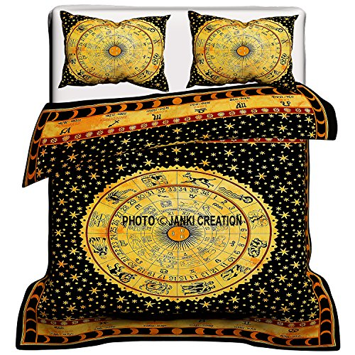 Indischen Bohemian Mandala Bettbezug Baumwolle handgefertigt Astrologie Mandala Bettbezug Queen Size mit Kissen Betten Set Bohemian Tröster Set, Tapisserie Mandala Hippie Bettbezug -