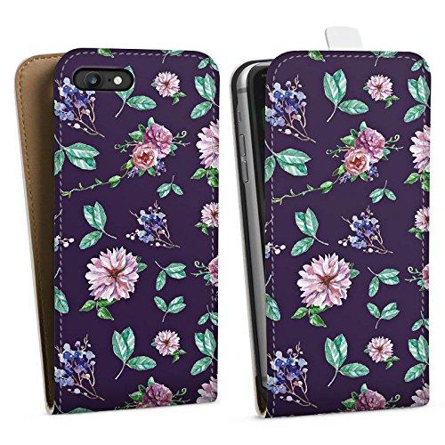 Apple iPhone 8 Silikon Hülle Case Schutzhülle Blumen Muster Herbst Downflip Tasche weiß