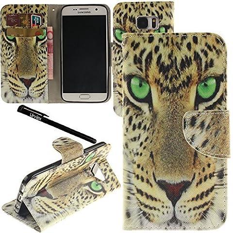 Galaxy S7 Case, Urvoix(TM) Card Holder Stand Leather Wallet Case - Fierce Leopard Flip Cover for G930 Samsung Galaxy S7 by Urvoix