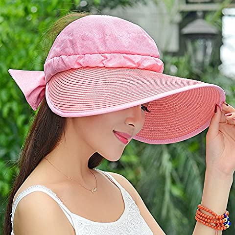 nsxbzz *Cap children summer sun hats female sunscreen tour straw hat adjustable UV visor female Foldable adjustable ( foldable ) Pink