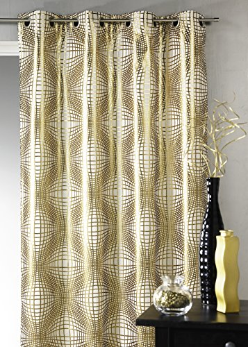 Homemaison - tenda in tessuto jacquard fantasia, oro, 138 x 260 cm