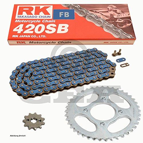 Kettensatz Suzuki RV 50 73-81, Kette RK FB 420 SB 124, offen, BLAU, 15/38 (Quad Suzuki < 50)
