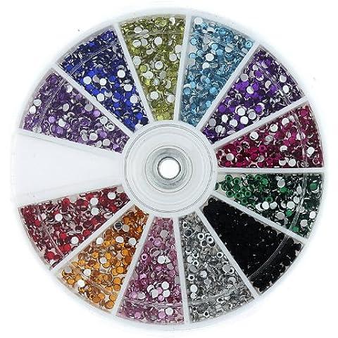 Jovana Rhinestones 1200 Piece 12 Color Nail Art Nailart Manicure Wheels by JOVANA
