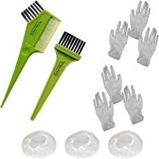 Indus Valley Hair Colouring Set 11 Pcs, Colouring Brush With Comb, 3 Pcs Of Hair Color Warming Cap & 6 Pairs Of Hand Gloves
