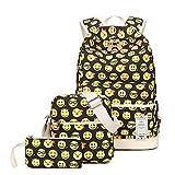 ZUNIYAMAMA 3 set Schultasche Emoji Canvas Laptop Rucksack Schultertasche Handtasche Tasche (Federmäppchen)