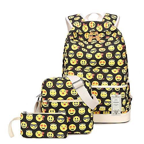 emoji tasche ZUNIYAMAMA 3 set Schultasche Emoji Canvas Laptop Rucksack Schultertasche Handtasche Tasche (Federmäppchen)