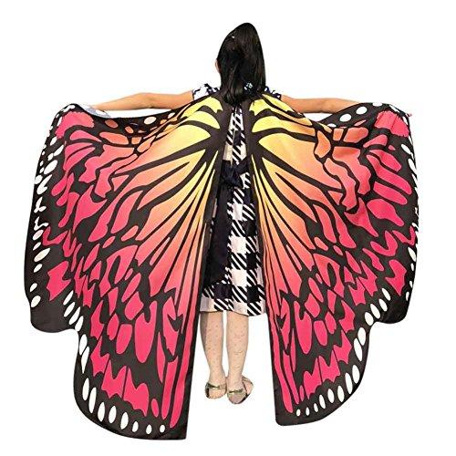 LILICAT Junge Mädchen 136*108CM Kostüm Party Weiche Gewebe Schmetterlings Flügel Schal feenhafte Damen Nymphe Pixie Halloween Cosplay Weihnachten Cosplay Kostüm Zusatz (One Size, Wassermelone Rot)