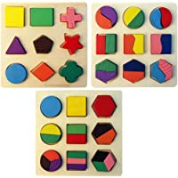 Univocean Wooden Geometric Puzzle Game for Children - Sorting Shape Learning Toys for Children (Pack of 3)