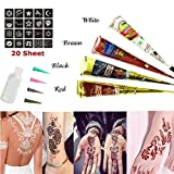 Skymore Henna Temporäre Tattoo Kegel Kit, Tattoo Paste Kegel Cones, Henna Paste Kegel, Tattoo Sticker Körperkunst mit 20 Stücke Tattoo Schablone, 1 X Henna Applicator Fles, 4 X Kunststoffdüse