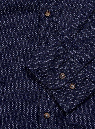 oodji Ultra Herren Hemd Slim Fit mit Druck Blau (7975D)