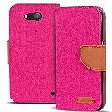 Microsoft Lumia 550 Tasche Textil Bookstyle Pink, PU LEDER Hülle Stoff Style Pink, Handyhülle Lumia 550 Flip Case Wallet, Booklet Cover Brieftasche Etui Schutzhülle mit Kartenfächer, Microsoft Lumia 550 (4,7 Zoll (11,9 cm)
