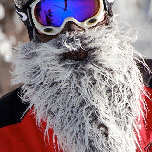 Beardski Biker Skimaske mit Bart Grau