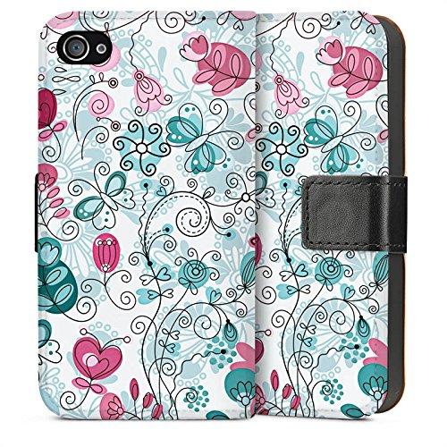 Apple iPhone 5 Housse Étui Silicone Coque Protection Papillons Vrilles Fleurs Sideflip Sac
