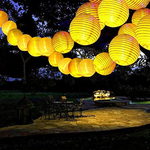 ANKOUJA Solar Lichterkette Aussen Solarlampen Gartenleuchte 30 LED Warmweiß Lampion 8 Funktiontyp für Balkon Solarleuchte Garten Wasserdichte Laterne