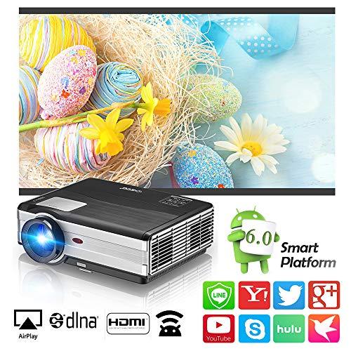 WIKISH Bluetooth Inalámbrico WiFi Proyector Cine en casa Proyectores de Cine compatibles con iPhone Consolas de Juegos Ordenador portátil DVD para Entretenimiento en el hogar Soporte Full HD HDMI USB