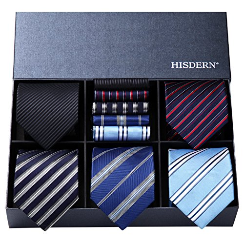 Hisdern Lotto 5 PCS Classico Formale elegante Uomo Cravatta di seta Set Cravatta & Pocket Square Set multipli