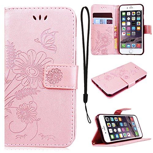 Preisvergleich Produktbild CE-Link für iPhone 6 Plus / iPhone 6S Plus Handyhülle Hülle Ledertasche Schutzhülle Leder Huelle mit Rosegold Schmetterling Blumen Wallet Case