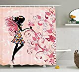 Girls Shower Curtain Fairy Decor, Pink Butterflies and Flowers Beautiful Glamour Girl with Colorful Floral Dress Angel Wings Fae Queen Feminine Nursery Bathroom, Black Baby Pink White 60 X 72 inch