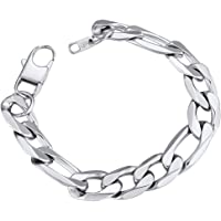 ChainsPro Figaro Link Chain Bracelet, Mens Womens Bracelet Chain Silver Gold Black, 6mm Wide, 19 / 21cm (Pouch Velvet…