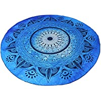 LEADSTAR 150 cm Mandala Tapiz Toallas de Playa Redondo de Multi-funcional Toalla de Playa Mantón Picnic para Yoga Colgar en la Pared, Azul