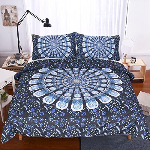 sleepwish 3PCS Blau Floral Mandala Bettbezug-Set Bohemia exotischen Mustern Decke Quilt Tagesdecke Bettwäsche Tröster Cover, Polyester-Mischgewebe, As Figure, King Size -
