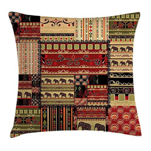 Funda de cojín holandés Africano, patrón asiático de Patchwork con Elefantes y...
