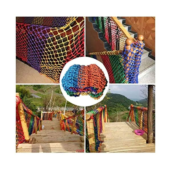Garden decoration net, color rope net child anti-fall safety net kindergarten fence net balcony stair safety net hammock swing woven net (Size : 10 * 10M(33 * 33ft))  ◆ Safety net wire diameter 6MM, mesh spacing 10CM.Color: Color rope net.Our protective mesh can be customized according to your needs. ◆Protective net material: Made of nylon braided rope, hand-woven, tightened.Exquisite workmanship, solid and stable, can withstand 300kg weight impact. ◆Features of decorative net: soft material, light mesh, multi-layer warp and weft, fine wiring, fine workmanship; clear lines, non-slip durable, anti-wear. 1