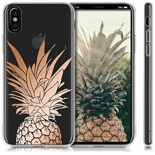 kwmobile Hülle für Apple iPhone X - TPU Silikon Backcover Case Handy Schutzhülle - Cover Schwarz matt Ananas Strauch IMD Rosegold Transparent