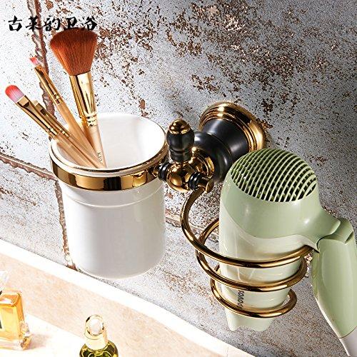 Redhj suspensión de la Torre Baño de Cobre Europeo Conjunto Negro Oro Viejo toallero Estante toallero de baño, secador de Pelo Rack Americano [con] la Copa