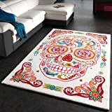 Paco Home Tapis Moderne Multicouleur Tête De Mort Squelette, Dimension:80x150 cm