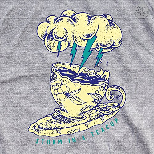FELPA DONNA STORM TEA CUP COFFEE TATTOO LIGHTNING FULMINI TAZZA HEY HE0006A PACDESIGN Lightgrey