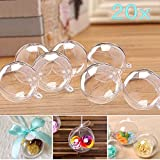 JZK 20 Clear plastic baubles to fill crafts & sweets 80mm transparent fillable ornament hanging ball for Christmas tree wedding favours box birthday party keepsake gift box