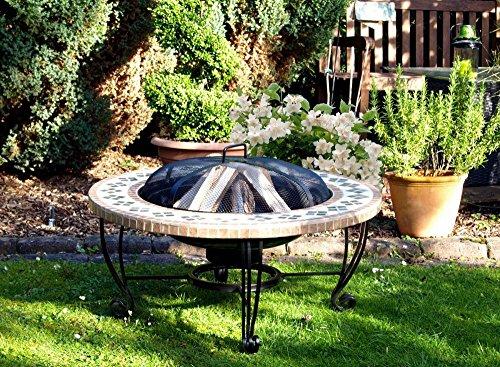 Feuerstelle 'Ibiza' Feuerschale Feuerkorb Stahlgestell schwarz 87 x 40 x 87 cm, Lagerfeuer, Gartenfeuer, Grillparty, BBQ, Garten, Loggia, Balkon, Terrasse