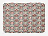 OQUYCZ Japanese Bath Mat, Oriental Flower Pattern with Asian Traditional Influences Cultural Design Elements, Plush Bathroom Decor Mat with Non Slip Backing, 23.6 W X 15.7 W Inches, Multicolor