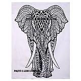 Indische Baumwolle Mandala Wandbehang Hippie Wall Poster Elefant Poster Bohemian Wohnheim Decor indischen klein Poster Indian Elephant Design Weiß Poster, Größe 30x 40indische Baumwolle Hippie-Überwurf indischen Poster,