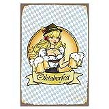 Cuadros Lifestyle Wanddekoration Blechschild 'Oktoberfest'/Wiesn/Nostalgic Art/Vintage, Größe:ca. 30 x 45 cm