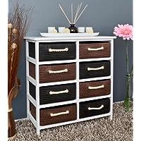 Cómoda rústica blanca con 8 cestas en color marrón y negro de 70 cm altura para baño y vivienda