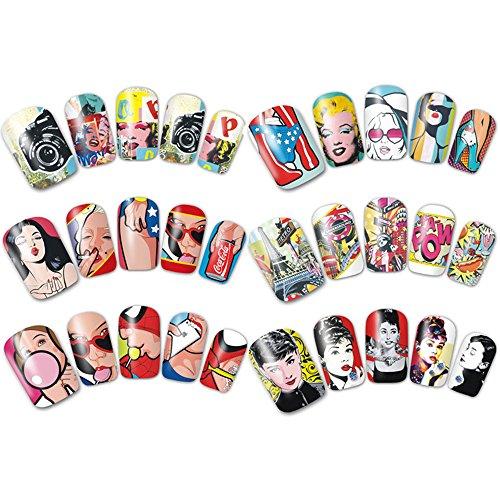 Frenshion 5 Stücke/Los Amerikanische Comics Charaktere Super Hero Muster DIY Nail Art Wassertransfer Aufkleber Maniküre Werkzeuge Dekoration