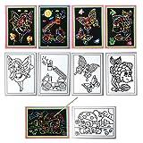 Kratzbilder 50 Stück 5 verschiedene Motive Fisch Elfe Schmetterling LKW Landschaft für Kindergarten oder Schule
