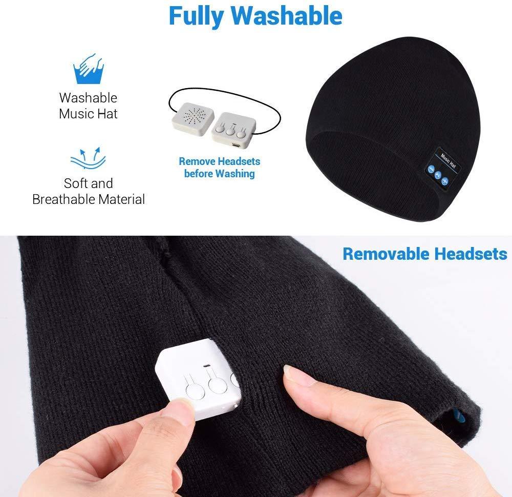 Berretto musicale Bluetooth, cappello lavorato a maglia bluetooth unisex con cuffie stereo e microfono vivavoce per… 3 spesavip