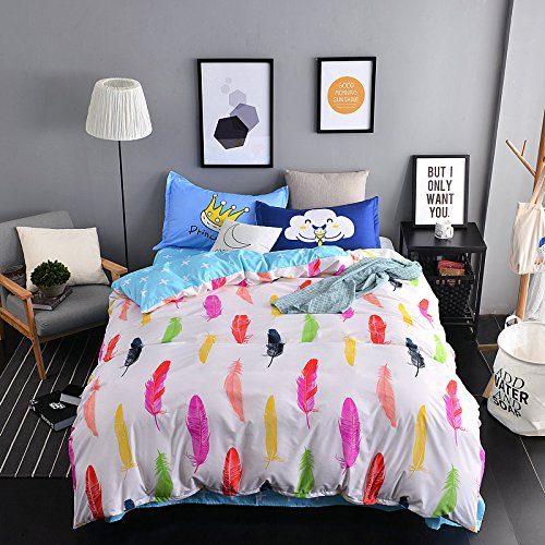 KFZ Bett Set (Zwei Full Queen King Size) [4: Bettbezug, Bettlaken, 2 Kissenbezüge] keine Tröster DL Colorful Feather Cloud Regenschirm Print Design für Kinder, Erwachsene, Kinder, Microfaser, Colorful Feather, Clean, Twin 59