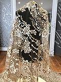 J3208Floral Brautschmuck/Hochzeit Kleid Pailletten bestickt Blumen Spitze Stoff scallop Trim Aufnäher 140Breite Gold, silber, 1 Yard